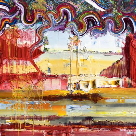 Reflect, 2021, Öl auf Nessel, 160 x 600 cm, Triptychon