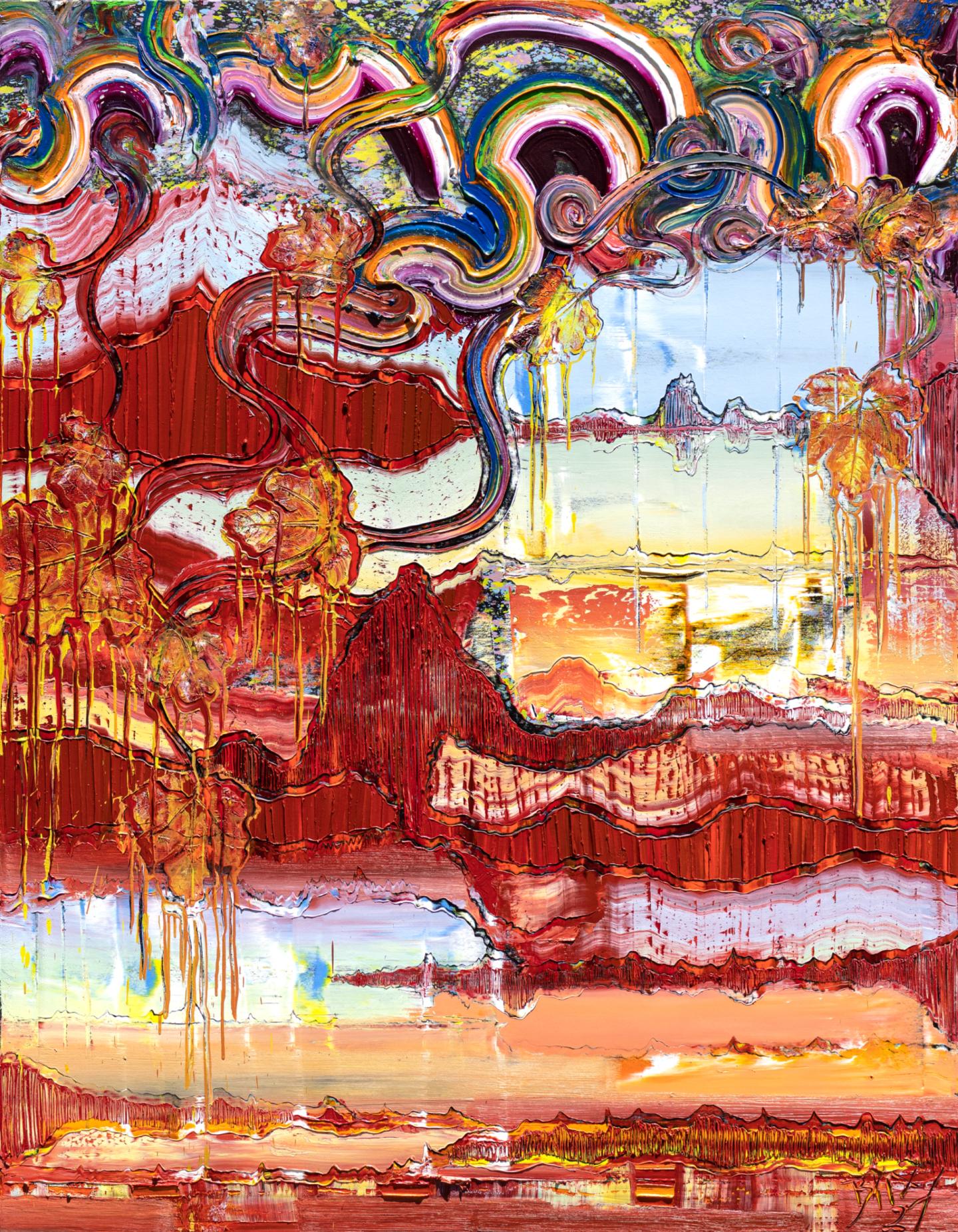 Reflect, 2021, Öl auf Nessel, 180 x 140 cm zu sehen bei Ausstellung in Mannheim